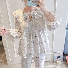 2019 primavera otoño mujer precioso conjunto de pijama con pantalones de algodón ropa de dormir lindo encaje cuello pico gasa doble pijama de dormir