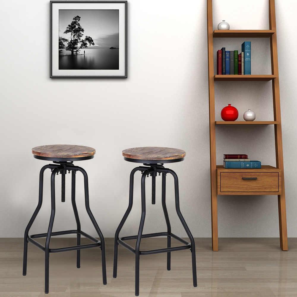 IKayaa барные стулья стиль регулируемый по высоте вращающийся барный стул из натурального соснового дерева топ кухонный обеденный для завтрака стул, барная мебель