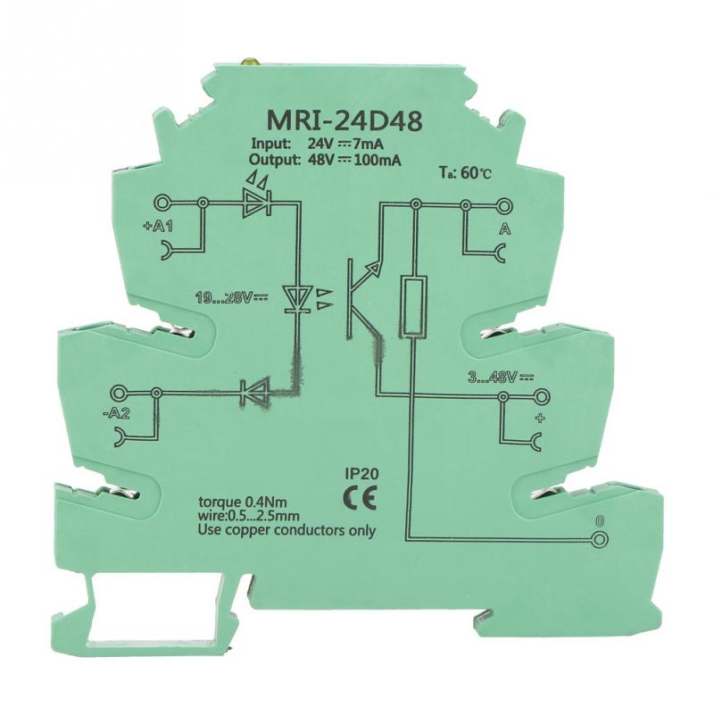 MRI-24D48 DC Photoelectrical Coupler Isolating PLC Relay Module Input 24VDC Output 3-48VDC High Quality