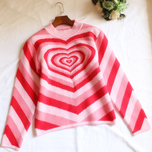 Image 4 - Harajuku Pink Sweet Heart Half Turtleneck Sweater Long Sleeve Love Knitting Women 2019 Pullovers