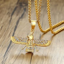 Dropshiping Ahura Mazda Zoroastrian Farvahar Wing Necklace Pendant in Gold Stainless Steel Medyan religi Achaemenian Men Jewelry