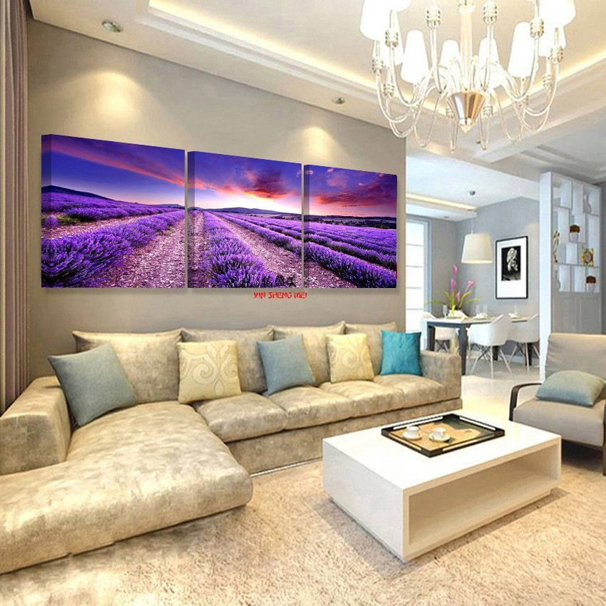 3 Piece Modern Oil Landscape Painting Canvas HD Print Wall Art Pictures For Living Room Paintings On Home Decor Modular Picture in Painting Calligraphy from Home Garden