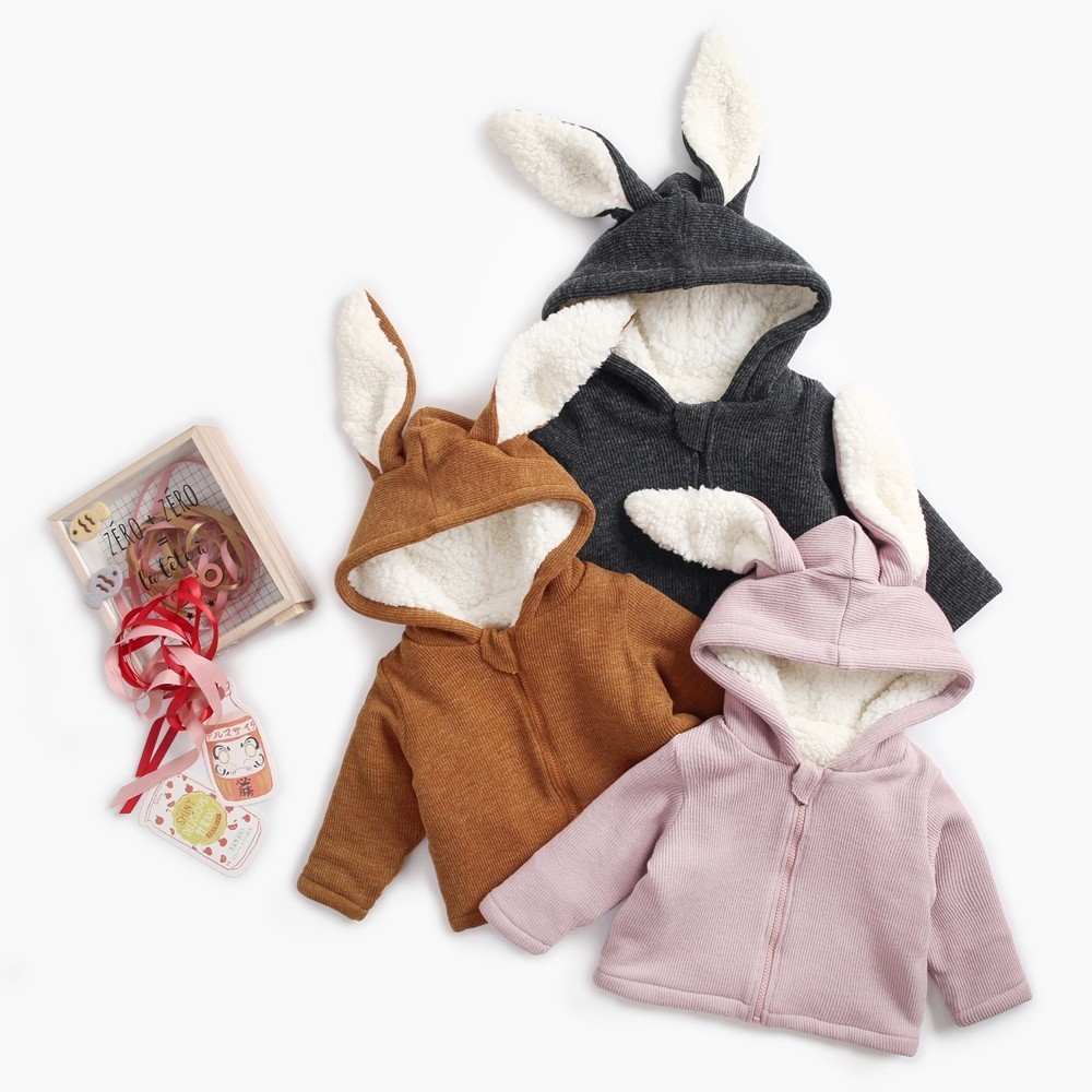 Warm Coats for Newborn Baby Corduroy Thicken Solid Rabbit Ears Hooded Kids Jackets Winter New Loose Zipper Cute Children Outwear brand children coat jackets stripe cute rabbit ears hooded wool coats for girl kids double breasted woolen jacket infant outwear