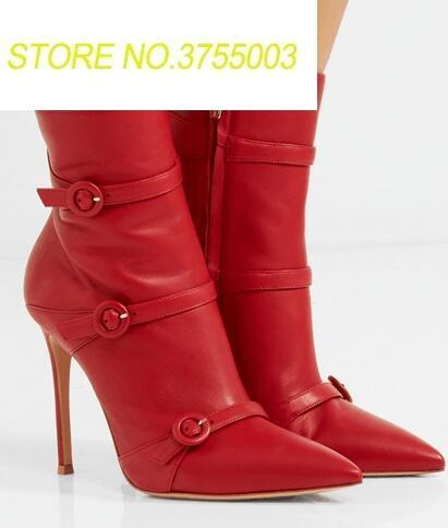 Fashion Red Smooth Leather Women Pointy Toe Ankle Boots Thin Leather Buckles Ladies Sexy High Heel Boots Zipper Knight BootsFashion Red Smooth Leather Women Pointy Toe Ankle Boots Thin Leather Buckles Ladies Sexy High Heel Boots Zipper Knight Boots