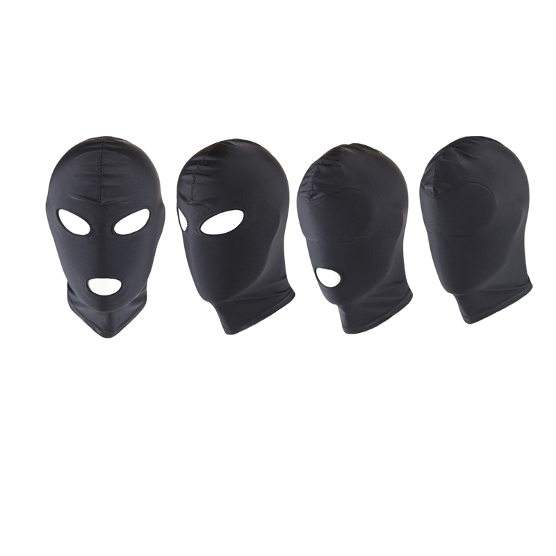 Adult Games Black Sex Mask Mouth Eye Open SM Bondage Restraint Fetish Mask Hood Erotic Slave Games Adult Products For Couples