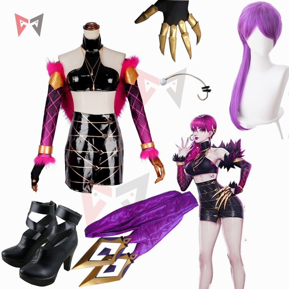 LOL Evelynn Cosplay Costume Game KDA Group Women Clothing Halloween Sex Leather Skirt Fur Tippet Wig Ears Shoes Custom Made Size