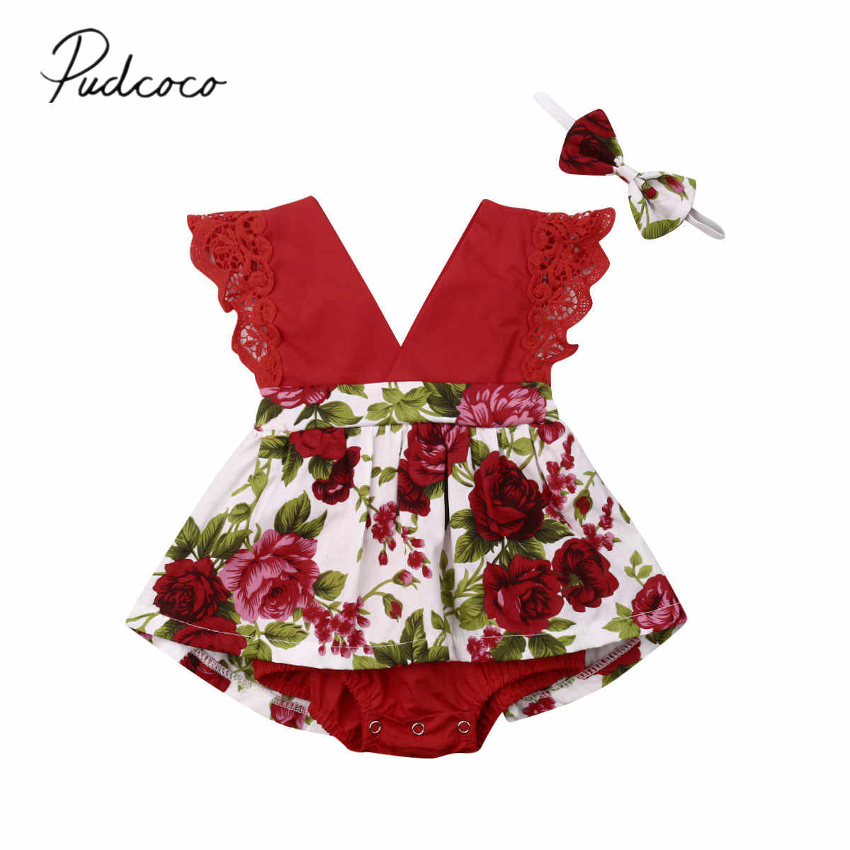 2019 Baby Summer Clothing Infant Baby Girls Floral Bodysuit Dress Sleeveless Lace V-Neck Ruffles Jumpsuit Headband Outfits