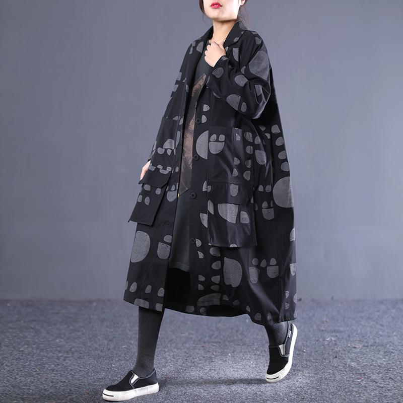Black Qualité 2019 Chauve Nouveau souris Turn Mode Polka Deat Encres Wd59001 Imprimés D'été Haute khaki Vêtement Femme De Pour Points Veste Col Manches down Bq75Rx5d