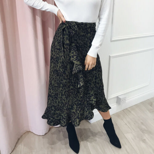 Fashion Women's Print Wrap Over Aysmmetric Skirt High Waist Midi