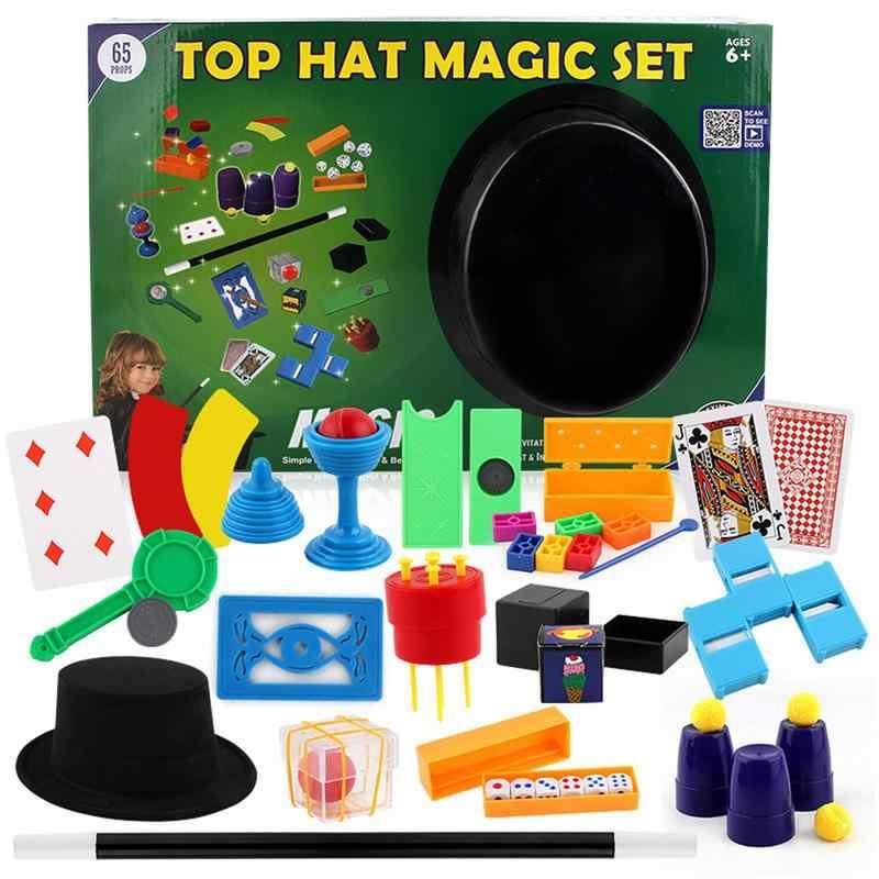 Penyihir Topi Ajaib Set 150 Trik Anak-anak Anak-anak Bermain Mainan Permainan Ilusi Anak Close-Up Sihir Mainan Hadiah kotak untuk Anak-anak