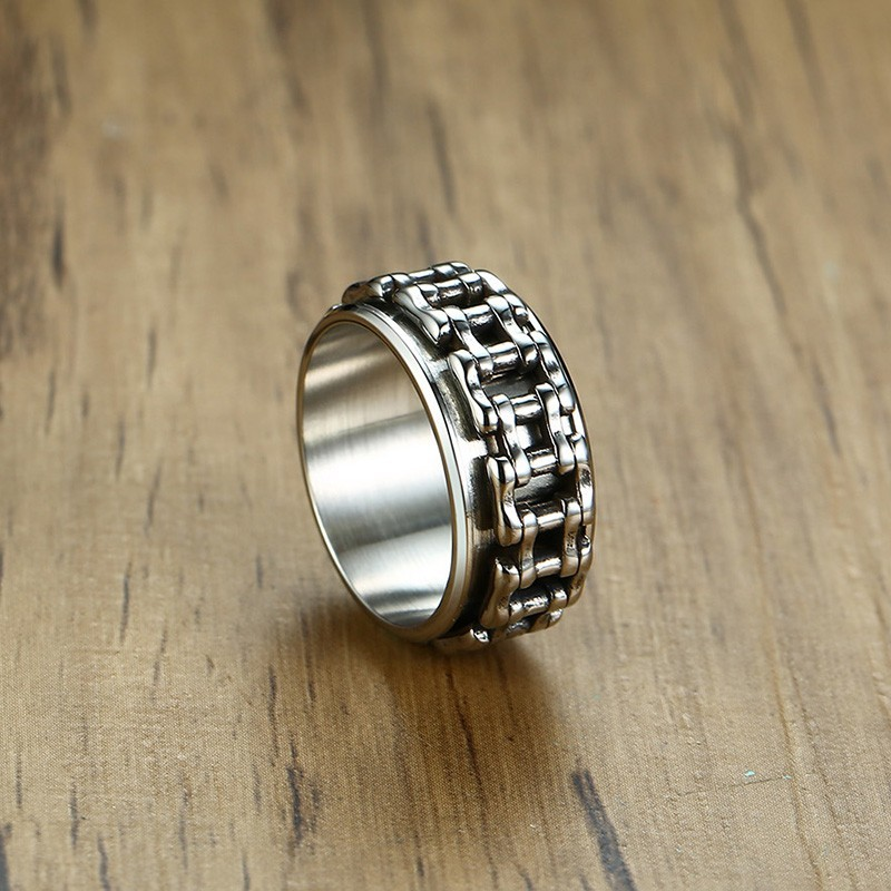 Amazing Bicycle Chain Shaped Stainless Steel Ring