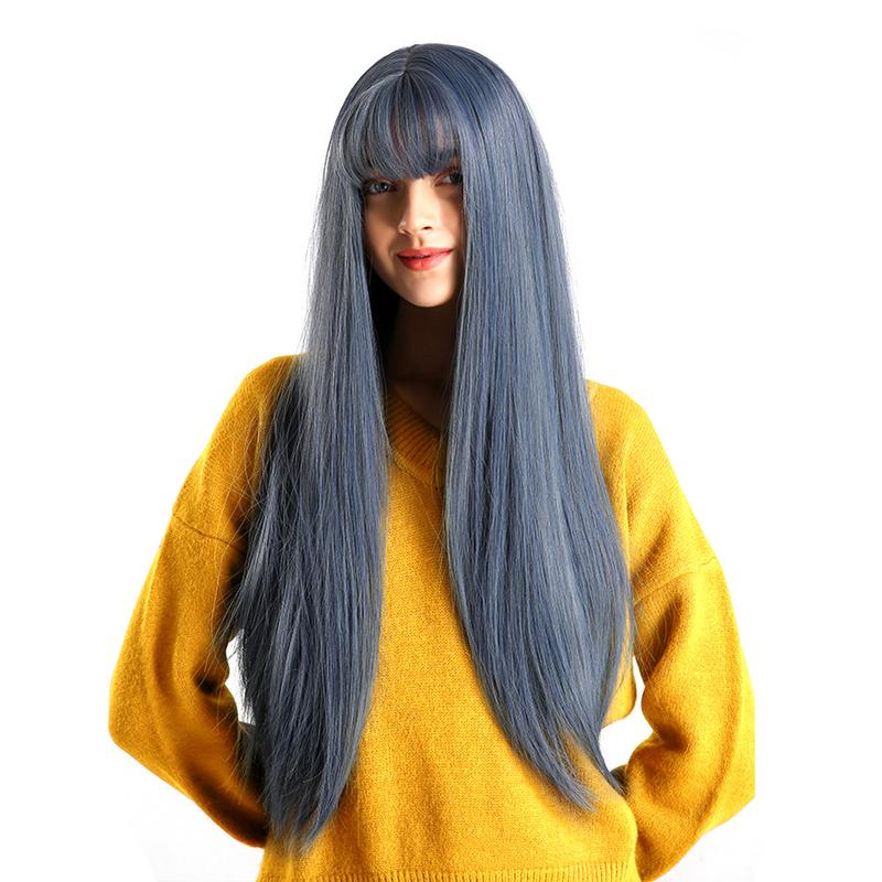 Cheap Price Long Straight Wig With Dark Blue Bangs Fashion Personality Dance Party Adjustable High Temperature Silk Synthetic Fiber Hair