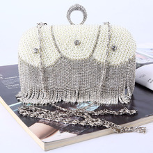 купить Luxury Evening Clutch Diamond Ring bag Pearl Bag Lady Beaded Handbag Rhinestone Tassels Wedding Party With Chain crossbody bags. по цене 1972.02 рублей