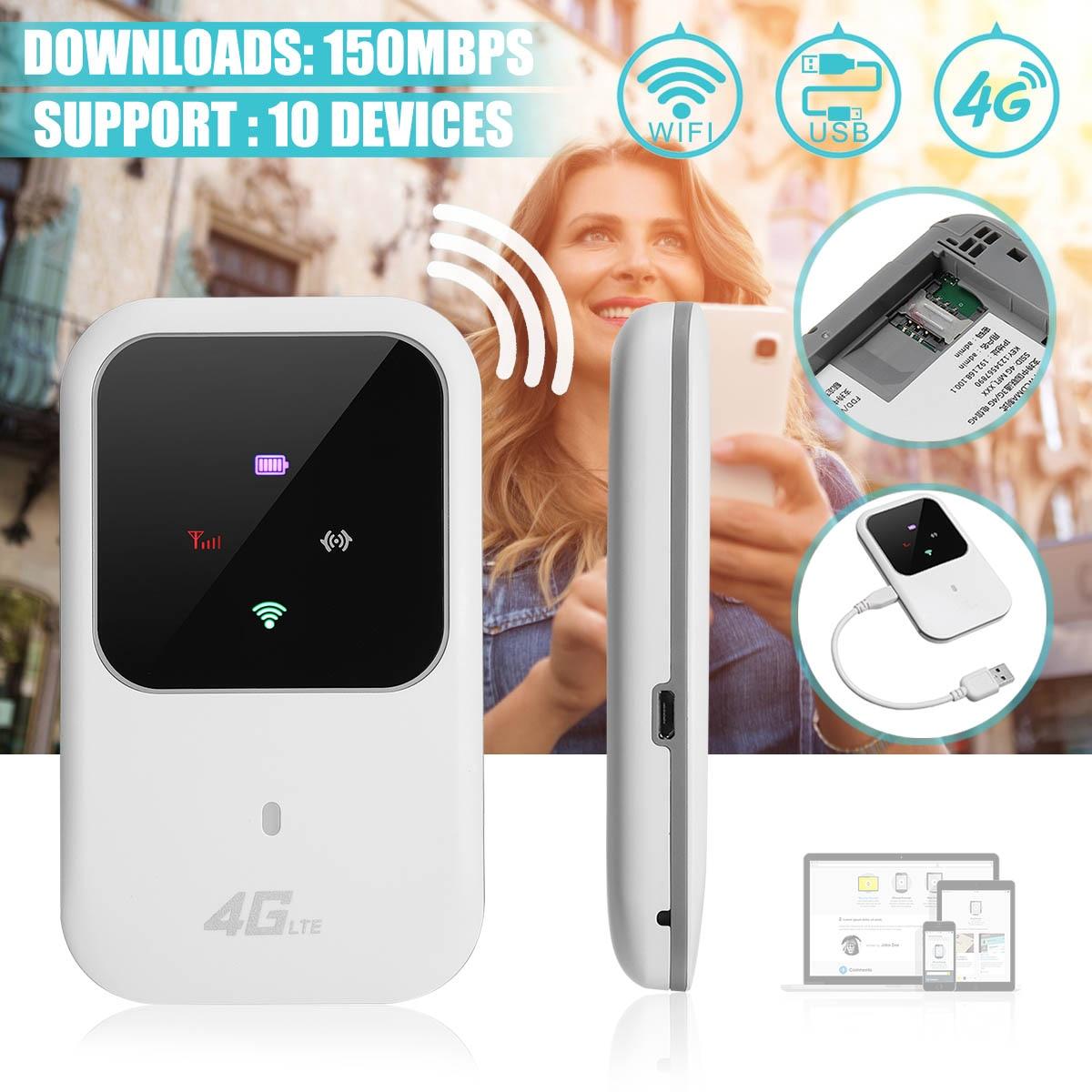 4G LTE Mobile routeur wifi sans fil Hotspot led Lumières Soutient 10 Utilisateurs Portable modem routeur pour la voiture Accueil Mobile Voyage Camping