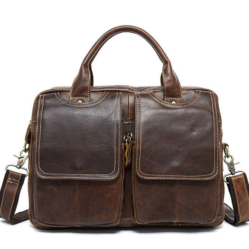 Mallette pour homme ordinateur portable 14 ''fourre-tout sacs à bandoulière pour hommes sac à bandoulière pour hommes sac à bandoulière en cuir véritable sacs pour hommes