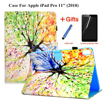 Case For iPad Pro 11 2018 Cover Funda Tablet For New iPad Pro 11 inch 2018 Fashion painted PU Leather Skin Stand Shell +Film+Pen