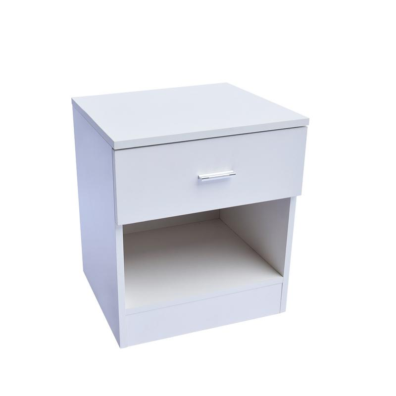 Night Table 1 Drawer Metal Handle Bedside Cabinet Night Table White Sturdy And Durable Easy To Assemble For Bedroom Storage