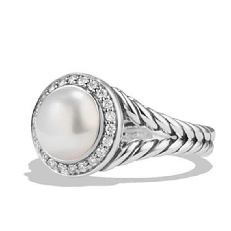 925 เงินสเตอร์ลิงเครื่องประดับ treasure แหวนไข่มุก zircon แหวนหมั้นสแตนเลส topaz Vintage Rose golden หยก crystB2351