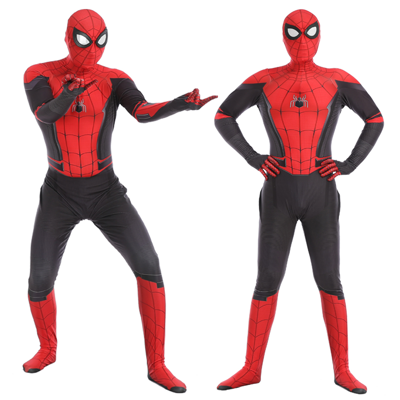 Adult Spiderman Costume Men Spiderman Far From Home Cosplay Costume Zentai Suit Peter Parker Bodysuit Jumpsuit Halloween