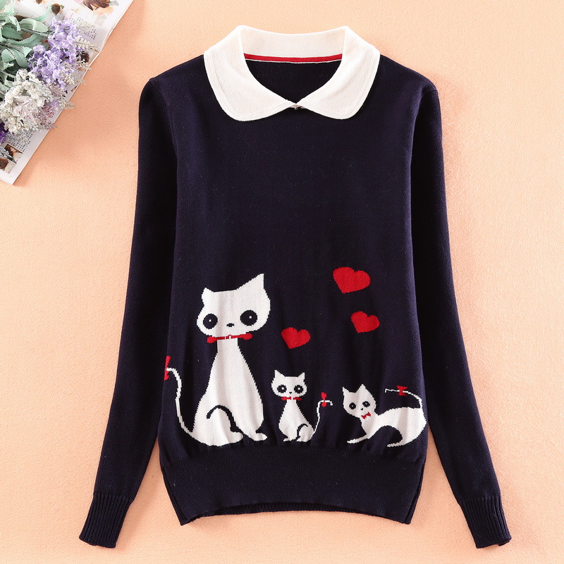 Japanese Cartoon Cat Patterned Mori Girl Navy Blue Knitted Sweater Pullover Tops