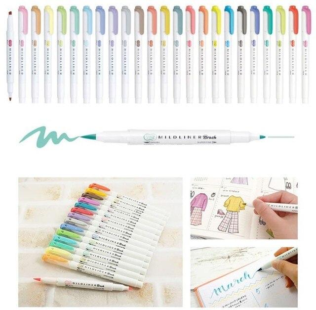 JIANWU 1pc japan zebra WFT8 mild liner brush pen Creative modelling double-headed marker pen bullet journal supplies kawaii 2
