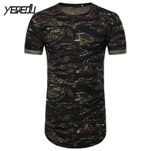 купить #0822 Summer 2019 Camouflage Extended T Shirt Hip Hop Punk Style Streetwear Fashion Short Sleeve Slim Fit European Size M-XXL по цене 832.38 рублей