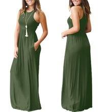 Summe Dresses Casual Womens Sleeveless O-Neck Loose Dress Solid Elaistic High Waist Long