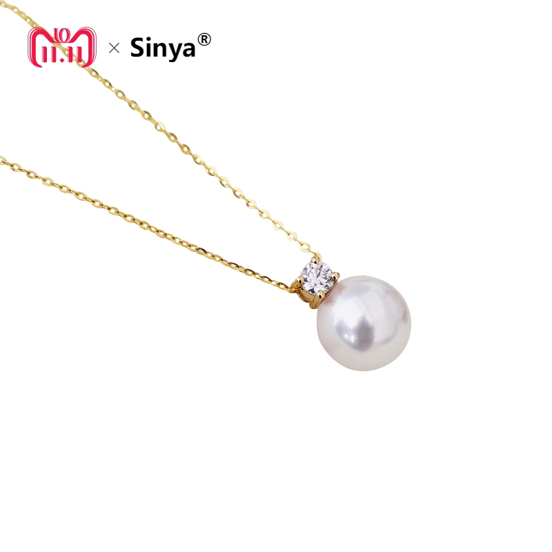 Real diamond princess pendant 8.5-10.5mm Natrual round pearl charm necklace in 18k Au750 gold with 45cm chains for women ladies sinya real diamond southsea golden pearl pendant 18k gold necklace choker include au750 gold chains for women mum girls gift