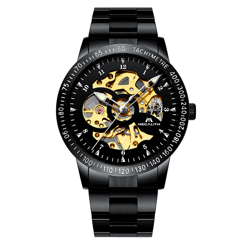 MEGALITH Mens Sport Watch Waterproof Automatic Mechanical Watch Black Stainless Steel Hollow Wrist Watches Horloges MannenMEGALITH Mens Sport Watch Waterproof Automatic Mechanical Watch Black Stainless Steel Hollow Wrist Watches Horloges Mannen