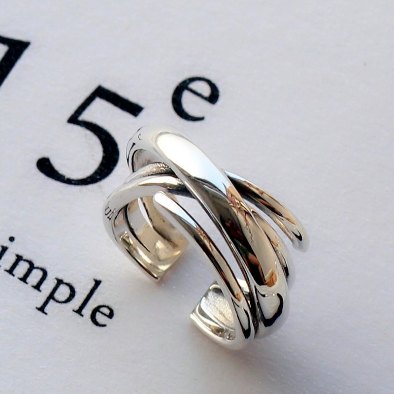 New Arrivals 925 Sterling Silver Multilayer Smooth Rings For Women Adjustable Size Finger Ring Fashion Sterling-silver-jewelry