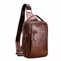 Brand Genuine Casual Vintage Cow Real Leather Chest Pack Sling Bag Men's Crossbody Shoulder Bags Men Messenger Bag