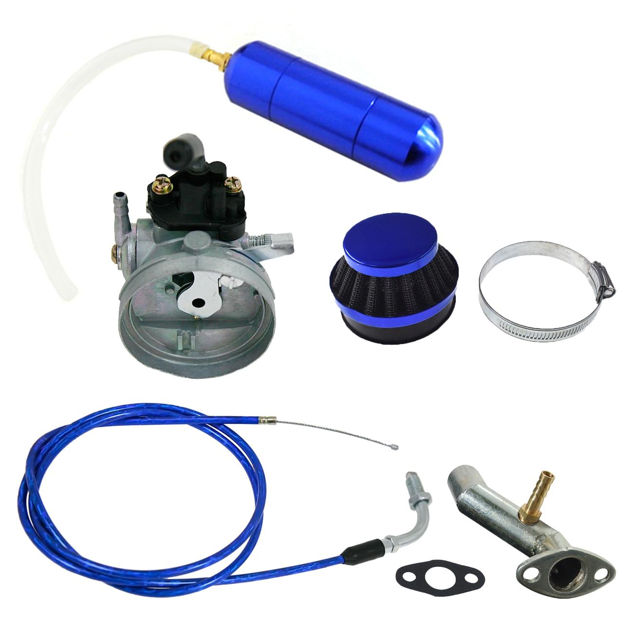 Carburateur bleu et bouteille d'alimentation pour vélo motorisé 49cc 60cc 66cc 80cc