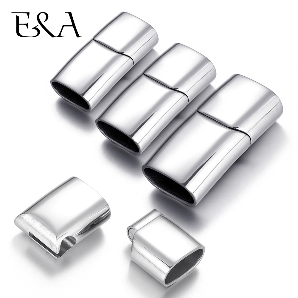 Stainless Steel Magnetic Clasp Hole 8*4mm 10*5mm 12*6mm Leather Cord Clasps Magnet Buckle DIY Jewelry Making Bracelet Supplies