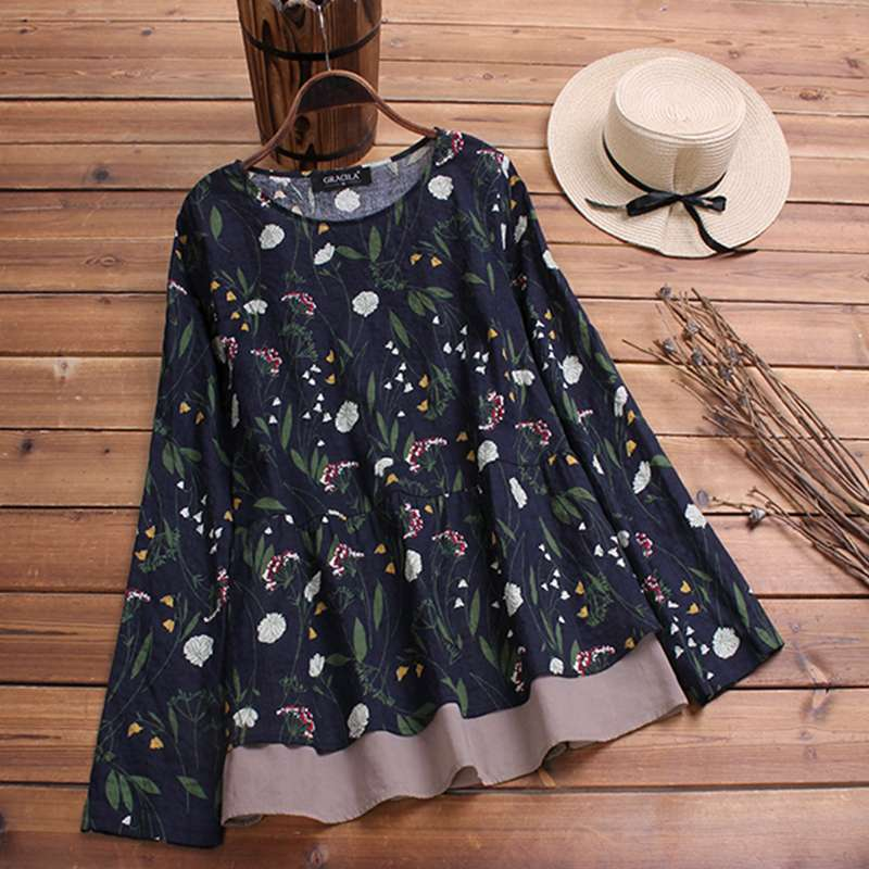 2019 Plus Size Spring Women Casual O Neck Long Sleeve Vintage Boho Floral Printed Patchwork Loose Party Blouse Shirt Vestido Top 5