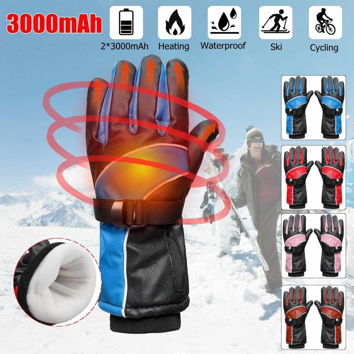 2000 мАч перезаряжаемые мотоцикл открытый перчатки с подогревом водонепроницаемый Сноубординг работы зимние руки теплые нагреватель перчат...