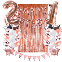 ZLJQ 21st Birthday Party Decorations Rose Gold Balloons Table Runner Happy Banner 21 Adult