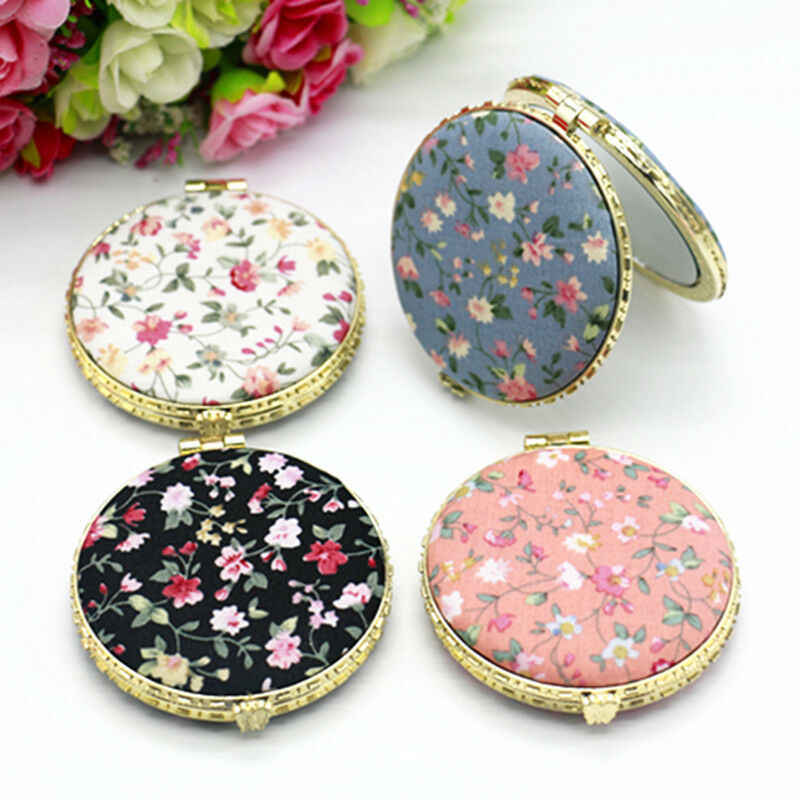 1pc Mini Retro Makeup Mirror Makeup Compact Pocket Flower Cloth Mirror For Women Ladys