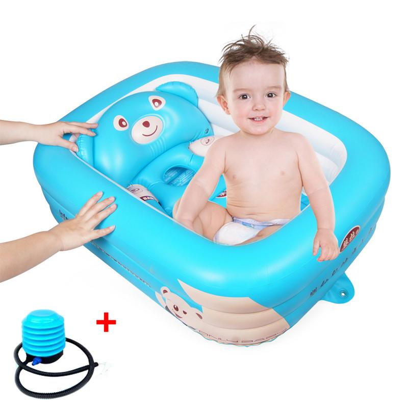 Baignoire pour bébé Nouveau-Né Bébé Pliable Gonflable Baignoire Grand Épaissie Baignade Piscine pataugeoire Pour Assis Et Couché
