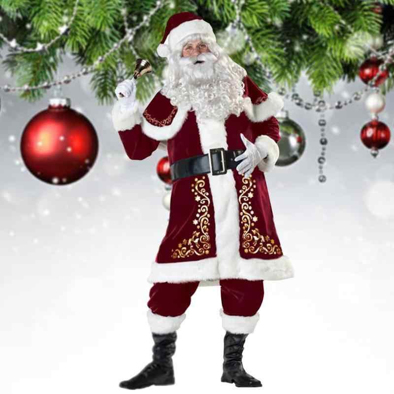 גברים נשים סנטה קלאוס תלבושות למבוגרים בפלאש חג המולד חליפת סנטה תלבושות זוג קוספליי תחפושת