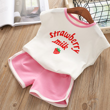 Childrens clothing summer strawberry print vest shorts casual two-piece sleeveless T-shirt + baby clothes