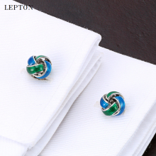 купить Cheap Fashion Metal Knot Cufflinks For Mens Lepton Blue & Green Knots Cuff links Men French Shirt Cuffs Cufflink Button gemelos в интернет-магазине
