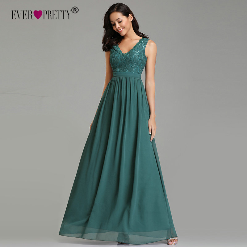 Sexy Prom Dresses Long Elegant A-line Chiffon Green Lace V-neck Party Gowns Ever Pretty EZ07577 Fashion Pleated Robe De Soiree