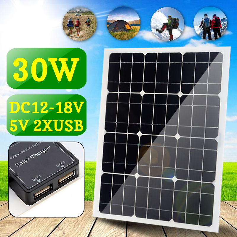 Chargeur de batterie de voiture d'interface USB Double DC 30 W 12 V/5 V avec prise allume-cigare panneau solaire monocristallin à quatre têtes