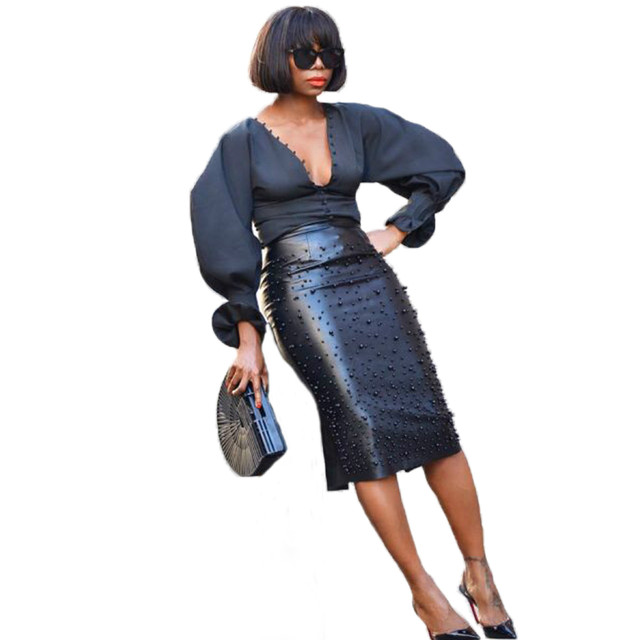 Plus Size Leather Pencil Fashion Skirt 6
