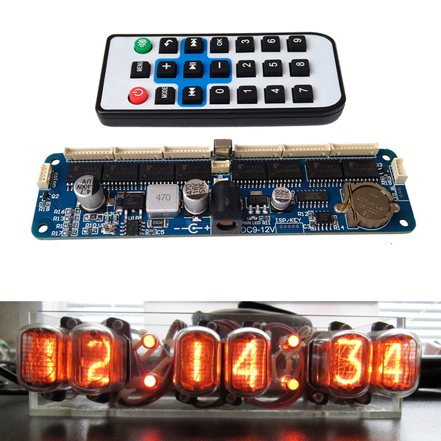 DYKB 6 bit Glow Clock Motherboard Core Board Control Panel remote control universal in12 in14 in18 qs30 1 Controller dc 9V 12V