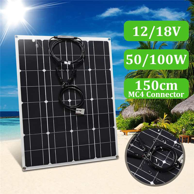 New 12/18V 50/100W Waterproof Solar Panel Modules With 1.5m MC4 Line  for Fishing Boat Car RV Outdoors Grasslands  solar systemNew 12/18V 50/100W Waterproof Solar Panel Modules With 1.5m MC4 Line  for Fishing Boat Car RV Outdoors Grasslands  solar system