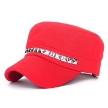 De las mujeres de la moda militar boina marinero de sombreros gorras planas  militar estilo Punk remache sombrero hombres de algo. b006b049bba