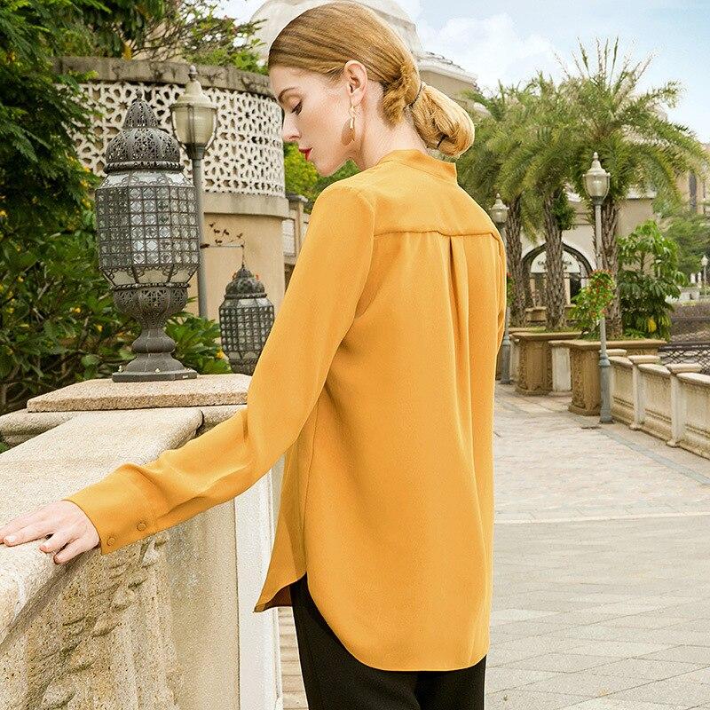 Tempérament Soie Qualité Mode Nouveau Chemise Sexy Irrégulière Green 2019 Feminina Femme Printemps V Super Chemises grey Camisa Weve Blouses Yellow Rvxfnv1