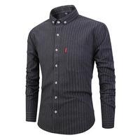 Japanese striped men's shirts casual long sleeved Shirt lapel Slim clothing cardigan simple fashion menclothes