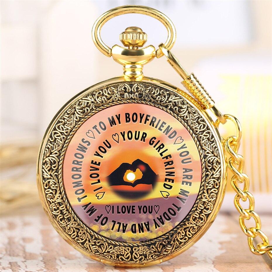 Retro Golden To My Girlfriend/Boyfriend Design Quartz Timepiece Pocket Watch With 30 Cm Punk Chain Exquisite Pocket Watches